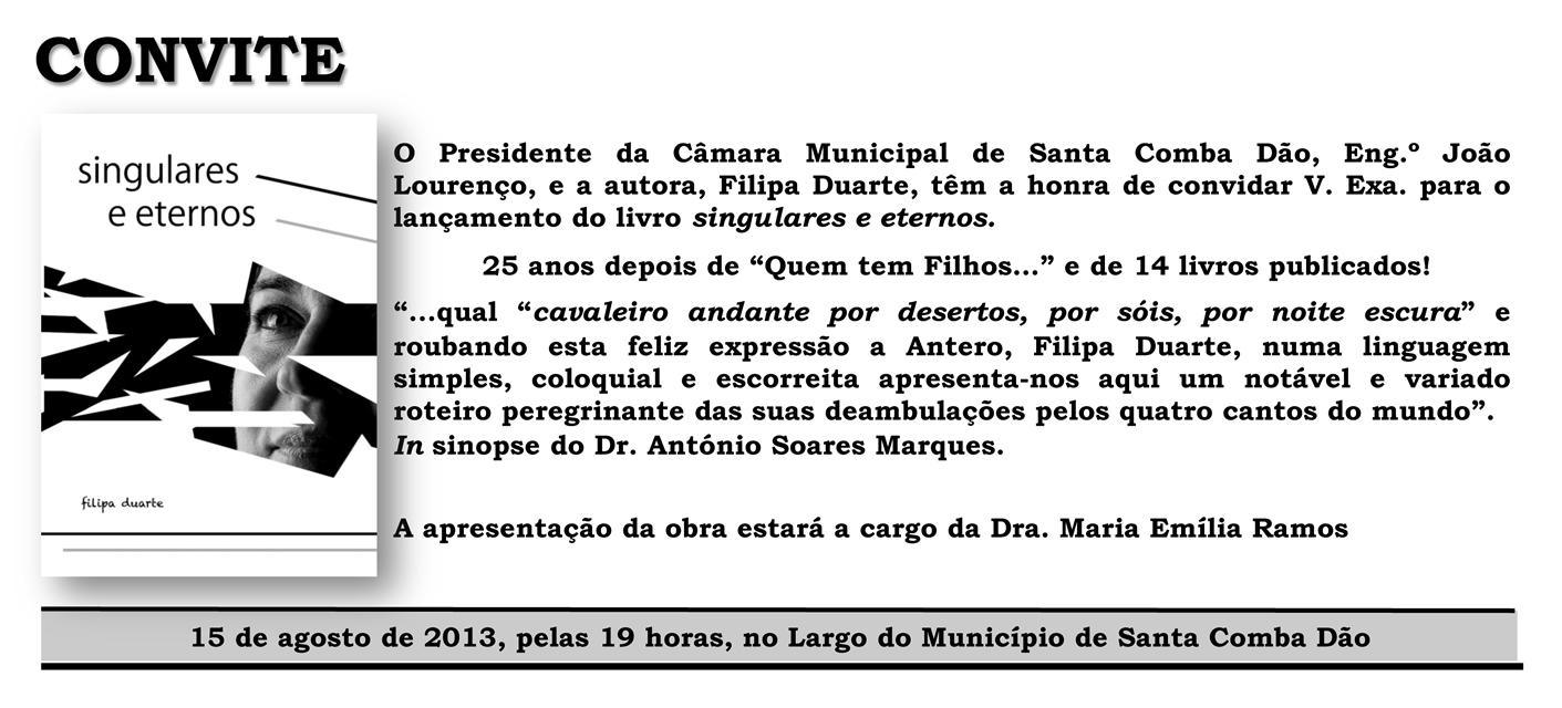convite apresentação livro de Filipa Duarte